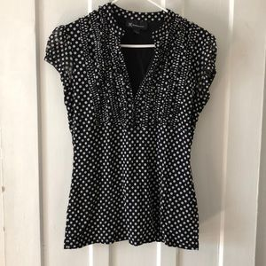Black with white polka dots top! Size L INC
